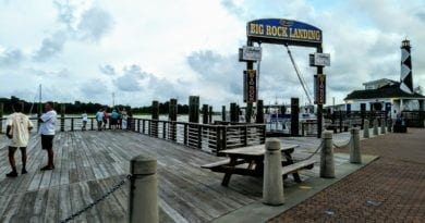 The Big Rock Landing and weigh scales is the focal point of the blue marlin tournament.