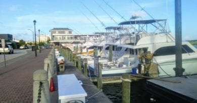 Offshore charter fishing boats along waterfront Morehead City NC