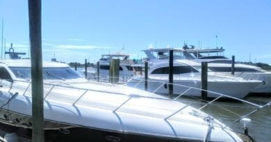Boats and yachts on Taylors Creek in Beaufort NC