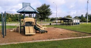 Soccer fields and kids playground at Rotary Park in Morehead City NC