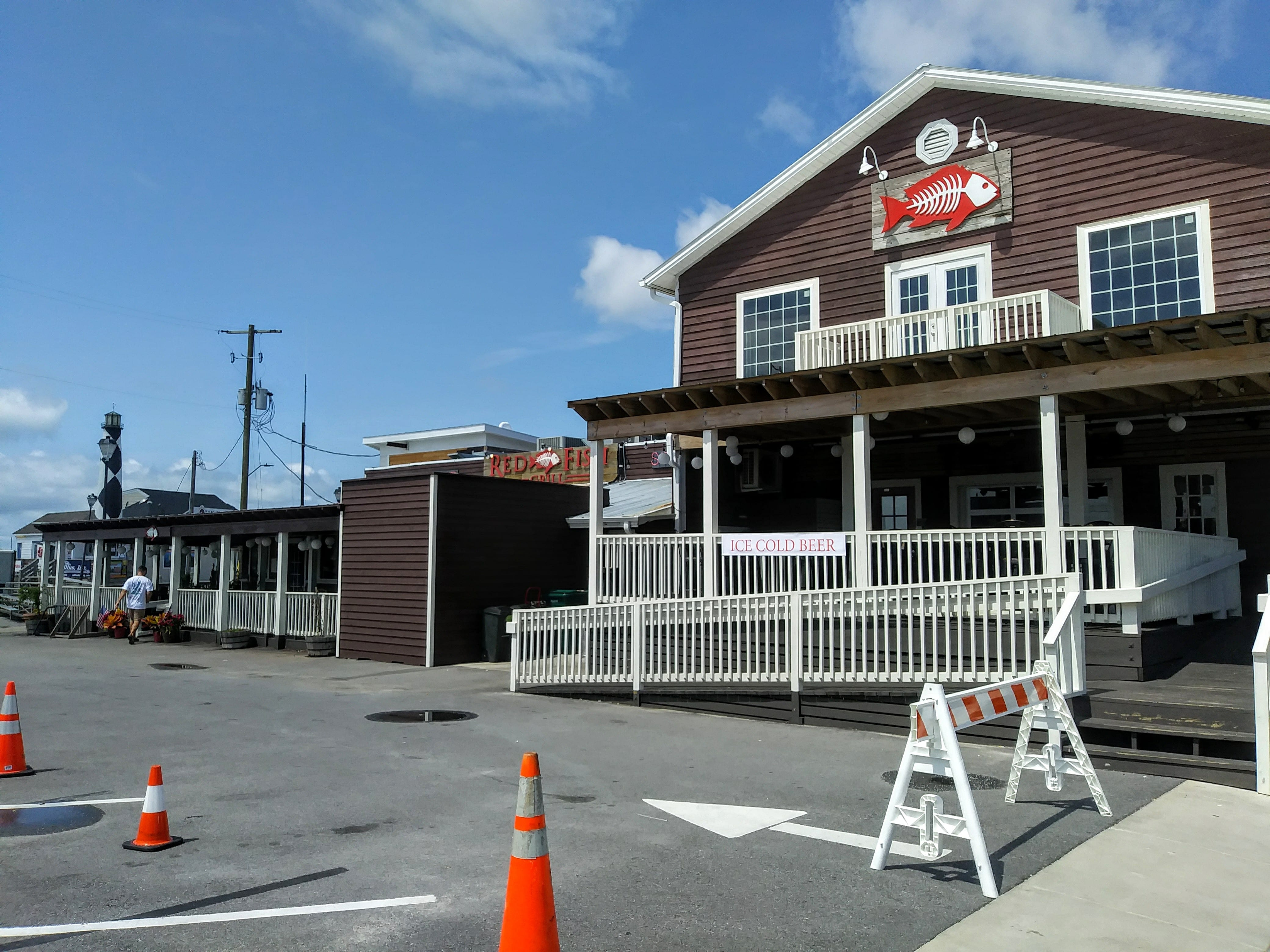 Red Fish grill and restaurant across from landing