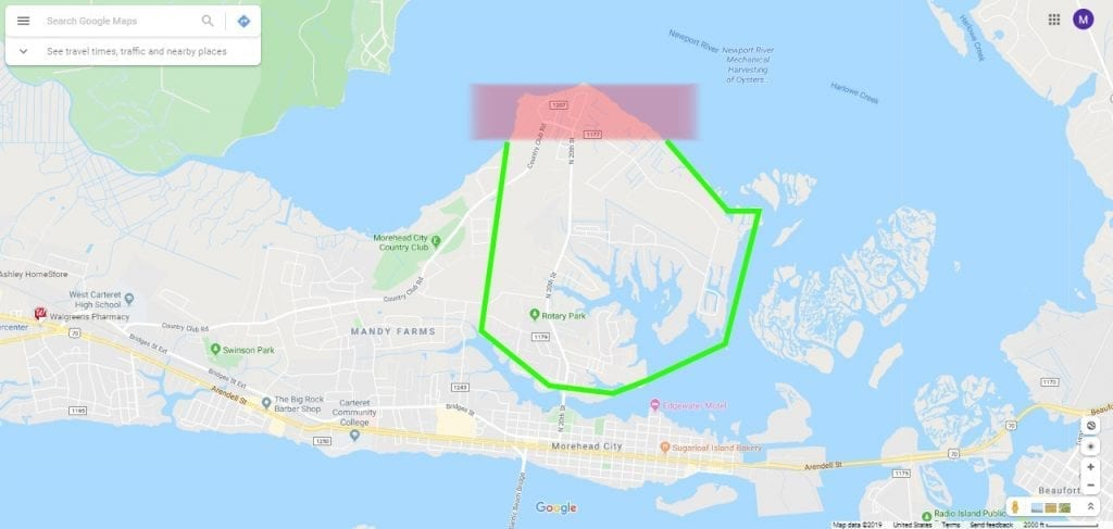 area map in Morehead City Crab